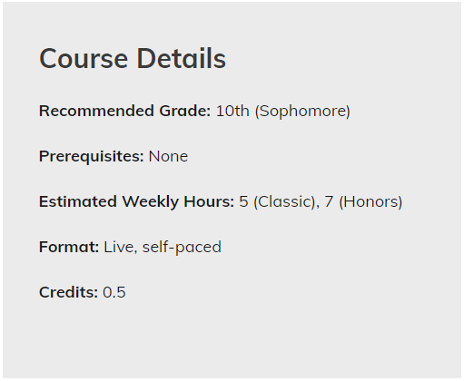 course details for self-paced